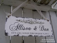 SHABBY CHIC ESTABLISHED Sign, Custom Name Sign, 13x5, Romantic Roses, Floral Accent. $39.00, via Etsy.