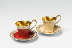 Two Berlin KPM Neoclassical porcelain cups with coloured ground - Lot 185 Tea Cup Saucer, Tea Cups, Fun Cup, Chocolate Pots, Tea Party, Berlin, Shabby Chic, Colours, Coffee
