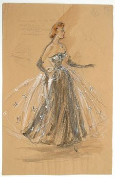 edith head costumes | Edith Head Costume Design Sketch | Art - Illustrations