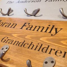 Personalised Coat Hooks A lovely house warming gift. Choose from grey or antique brown and from our standard or 5 hook range. Wooden Coat Hooks, Storage Hooks, Handmade Wooden, Bamboo Cutting Board, House Warming, Antiques, Gifts, Antiquities