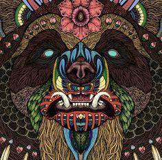 Amazing bear face illustration