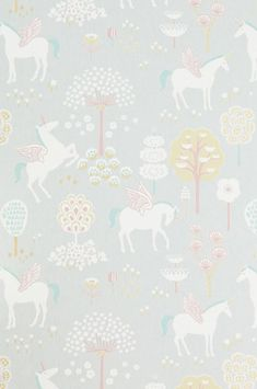The wallpaper True Unicorns Grå - from Majvillan is a wallpaper with the dimensions x m. The wallpaper True Unicorns Grå - belongs to th Unicornios Wallpaper, Wallpaper Paste, Wallpaper Online, Kids Bedroom, Bedroom Decor, Pastel Colors, Colours, Unicorn Bedroom, Unicorn Decor
