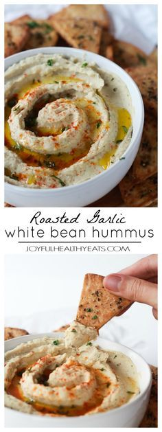 A healthy gluten free Roasted Garlic White Bean Hummus, a must have on the go snack option when those tummy grumbles start. | joyfulhealthyeats.com