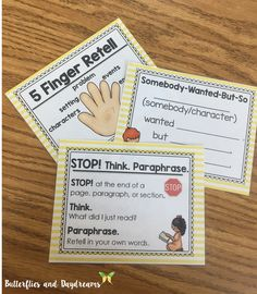 Guided Reading Strategy Cards for Small Group Reading {BME, 5 Finger Retell, Somebody Wanted But So}