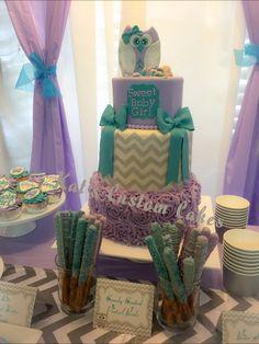 Owl, lavender, turquoise, gray chevron, rosette, three tier baby shower cake!