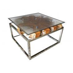 Barka Teak Root & Glass Coffee Table