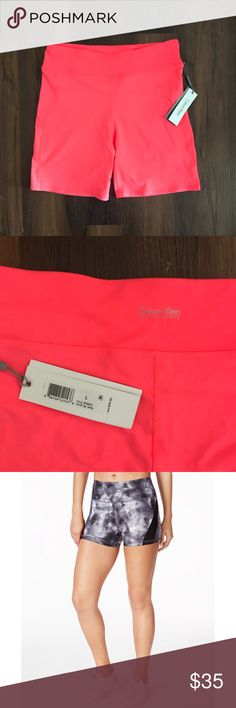 "NWT Calvin Klein performance compression shorts NWT Calvin Klein performance compression shorts, neon orange. 7"" inseam, great quality and comfortable, great for yoga, sports, lifting weights.m, crossfit, or working out. Calvin Klein Shorts"