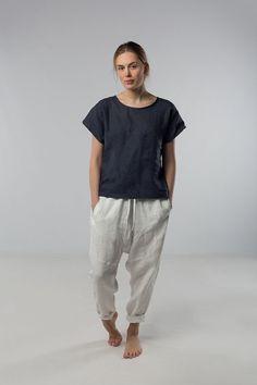 Harem pants Linen pants Woman pants Natural linen by Linenfox
