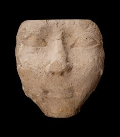 ~Plaster face from a coffin or mummy case. Culture: Egyptian, New Kingdom Period: Dynasty 18–20 Date:1550–1070 B.C. Findspot: Buhen, Nubia (Egypt)