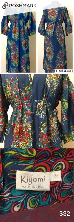 """❤️ Vintage Hawaiian Kimono Dress by Kiyomi 19.5"""" across drawstring unstretched  24"""" underarm to underarm (made to look flowy) 47"""" top to bottom GORGEOUS peacock pattern!✨ Photographed prior to packing for shipment  Nonsmoking home Liberty House Dresses Maxi"""