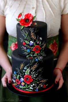 Schwarze Hochzeitstorte - Cakes, Cupcakes, Cookies and More - Gorgeous Cakes, Pretty Cakes, Amazing Cakes, Beautiful Cake Designs, Cupcakes, Cake Cookies, Dessert Nouvel An, Decors Pate A Sucre, Black Wedding Cakes