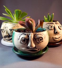 FACE ME  Sculpted face planters with succulents.   by GR8ART4U, $25.00