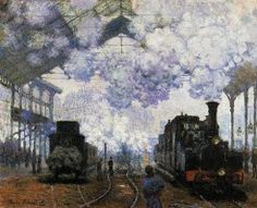 "Monet's ""The Arival of the Train"" at the Gare St. Lazare in Paris."