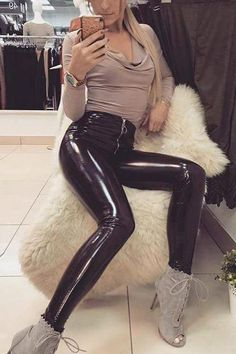 Latex Faux Pu Leather Pants Women Trousers Push Up High Waist Skinny Pants Pencil Spring Winter Black Pants Vinyl Leggings, Wet Look Leggings, Leggings Are Not Pants, Legging Outfits, Leder Outfits, Leather Overalls, Leather Pants Outfit, Trousers Women, Black