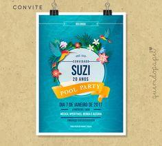Convite Pool Party, Convite Festa na Piscina, Convite Festa na Praia, Convite Verão, Festa do Havaí
