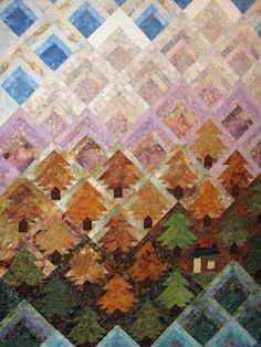Little log cabin quilted wallhanging