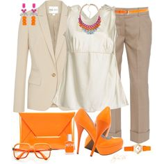 Neutrals and Neon by fantasy-closet on Polyvore