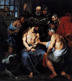 """""""Crowning with Thorns"""" by Sir Anthony van Dyck (Museo del Prado, Madrid). Anthony Van Dyck, Sir Anthony, Caravaggio, Peter Paul Rubens, Catholic Art, Religious Art, Catholic Catechism, Catholic Saints, Santo Angelo"""
