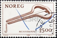 NORWAY - CIRCA 1982: A postage stamp printed in the Norway shows oldest musical instrument Jew's harp, circa 1982
