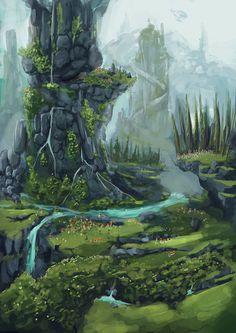 Perfect for a fantasy adventure cover Fantasy Artwork, Fantasy Art Landscapes, Fantasy Paintings, Fantasy Landscape, Landscape Art, Environment Concept Art, Environment Design, Fantasy Places, Fantasy World