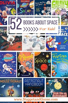 Do your kids love space, rockets and planets? Do they dream of being astronauts? This list of 52 Books About Space for Kids is sure to keep kids of all ages entertained and educated! Visit www. Planets Preschool, Planets Activities, Space Preschool, Preschool Books, Preschool Activities, Space Books For Kids, Space Activities For Kids, Science For Kids, Daycare Themes