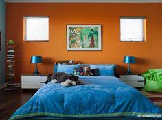Find 49 The Best Step to Have Perfect Bedroom Colors Ideas Bedroom Orange, Bedroom Red, Orange Walls, Bedroom Decor, Bedroom Ideas, Bedroom Interiors, Blue Walls, Best Bedroom Colors, Bedroom Color Schemes