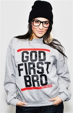 """God First Bro! Inspired by Matthew 6:33.  But seek first the kingdom of God and his righteousness, and all these things will be added to you.  Model Felicia 5'6"""" wearing a Small-Unisex size  Printed on a Men's/Unisex crew neck sweatshirt.This is a really thick sweater ,super soft and comfy."""