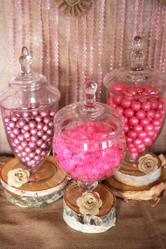Trend Alert: Rustic Glam Pink & Gold Dessert Table Love the round wood pieces to add height