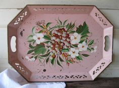 Vintage Tole Tray Handpainted Metal Pink Shabby by tessiemay, $45.00