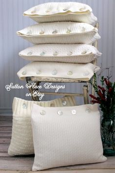 Upcycled Sweater Decorative Pillow Ivory by SuttonPlaceDesigns, $30.00