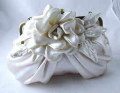 Off white bridal flower clutch bridal purse by FuchstandBelle, $125.00