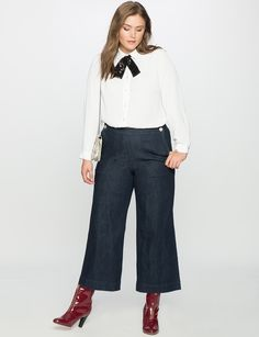 Gold Button Oxford Shirt   Women's Plus Size Tops   ELOQUII