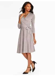 Talbots Winter 2015-16 Metallic Surplice-Wrap Dress