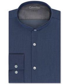 Calvin Klein Men's X Extra-Slim Fit Stretch Band Collar Dress Shirt - Blue 17-17 1/2 32-33