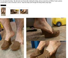 Husband responds to eBay request asking for photos of wife's feet: http://www.dailydot.com/lol/husband-ebay-foot-fetish/
