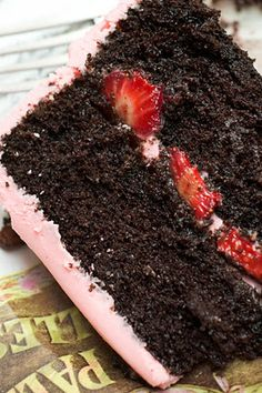 Dark Chocolate Cake with Strawberry Cream Cheese Icing!