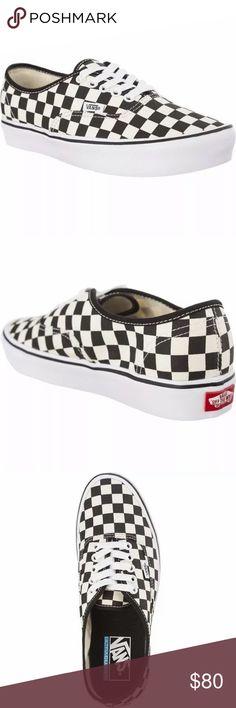 21183428df5 Vans authentic checker black white sneaker shoes New with box Vans  Authentic lite Checkerboard black white