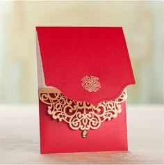 Cartão de casamento indiano, Corte a laser convites de casamento, Real vermelho do convite cartões para decoração de casamento em Decoração de festa de Casa & jardim no AliExpress.com | Alibaba Group
