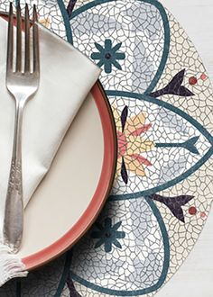 CERAMIC COLLECTION ROUND PLACEMAT by A&A Story Placemat, Plates, Entertaining, Ceramics, Tableware, Summer, Collection, Style, Licence Plates