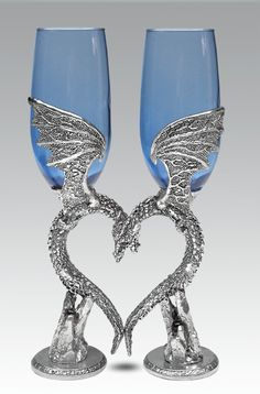 Blue Dragon Wing Heart Toasting Flutes - Sapphire Blue