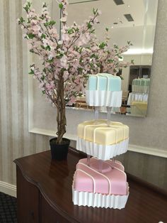 French fancy / Fondant fancy wedding cake... 3 gorgeous tiers of Victoria Sponge, Chocolate Orange + Rocky Road cake