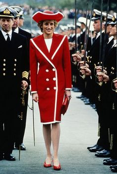 The Princess of Wales was spotted at Dartmouth Royal Naval College in April 1989 wearing a red dress