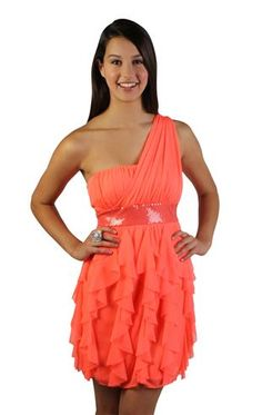 one shoulder cascade tendril party dress