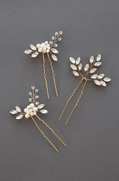 Gold Rhinestone and Pearl Hairpin Set