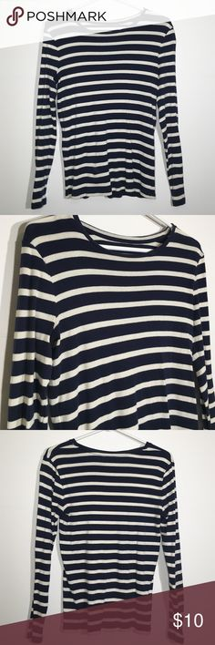 🍭Ann Taylor Tee Navy and cream striped long sleeve T shirt. No flaws. 100% cotton. Ann Taylor Tops Tees - Long Sleeve