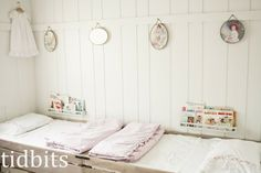 love the spaced planking and board across to hang things from......by tidbits: Little Girl Shared Bedroom - Small Space Makeover