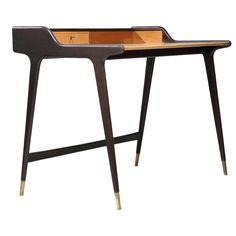 1950s Black Freestanding Ladies Desk by German Architect Reinhold Stotz