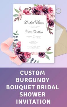 Bridal shower invitation template with the gorgeous burgundy roses bouquet and wonderful celebration font. Customize this template online in a few clicks and order printed invited or printable file. Tags: wedding shower, bridal shower invite, printable bridal pdf Bridal Shower Invitation Wording, Wedding Invitation Sets, Invitation Ideas, First Birthday Invitations, Birthday Invitation Templates, Pre Wedding Party, Burgundy Wedding Invitations, Bridal Shower Rustic, Baby Shower