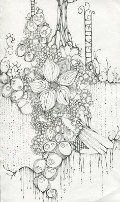 flower and trees ZenTangle scene Zentangle Drawings, Doodles Zentangles, Zentangle Patterns, Doodle Drawings, Coloring Book Art, Colouring Pages, Doodle Paint, Tangle Art, Doodle Inspiration