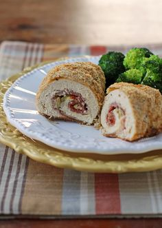 These Antipasto Chicken Roulades are stuffed with cured meats, cheese, olives and pepperoncini and then breaded and baked to perfection! Just 371 calories or 8 Weight Watchers SmartPoints! www.emilybites.com
